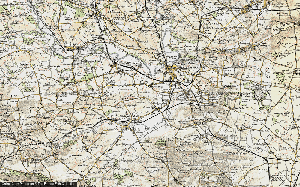 Old Map of Historic Map covering Woodhouses in 1903-1904