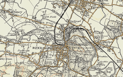 Old map of Eton in 1897-1909