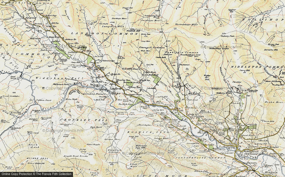 Old Map of Historic Map covering Wool Pits Hill in 1904