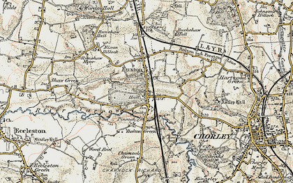 Old map of Euxton in 1903