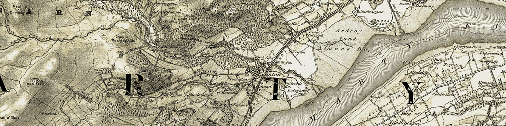 Old map of Evanton in 1911-1912