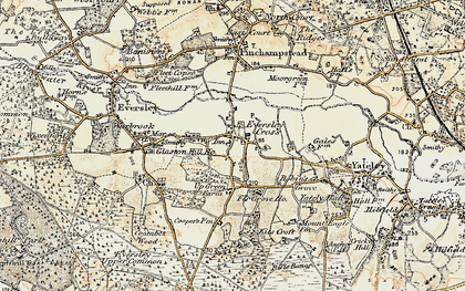 Old map of Eversley Cross in 1897-1909