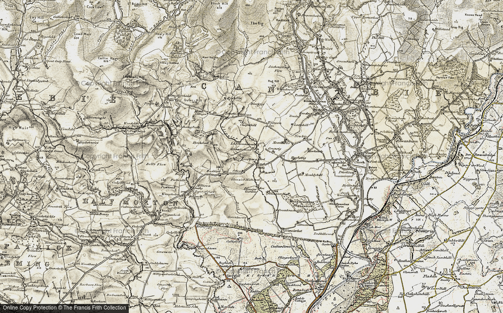 Old Map of Historic Map covering Almonside in 1901-1904