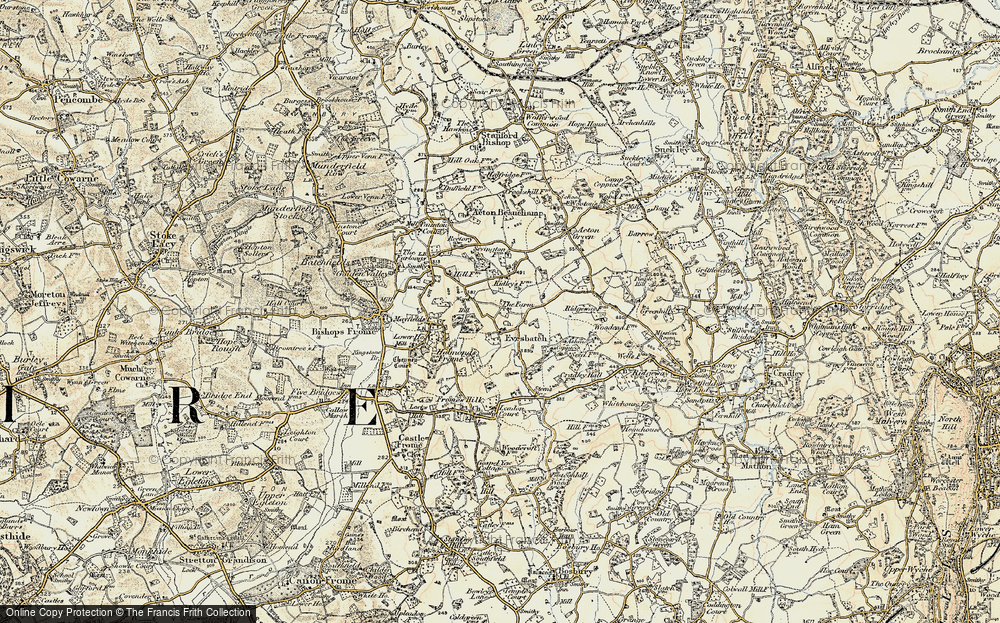 Old Map of Historic Map covering Ashen Coppice in 1899-1901