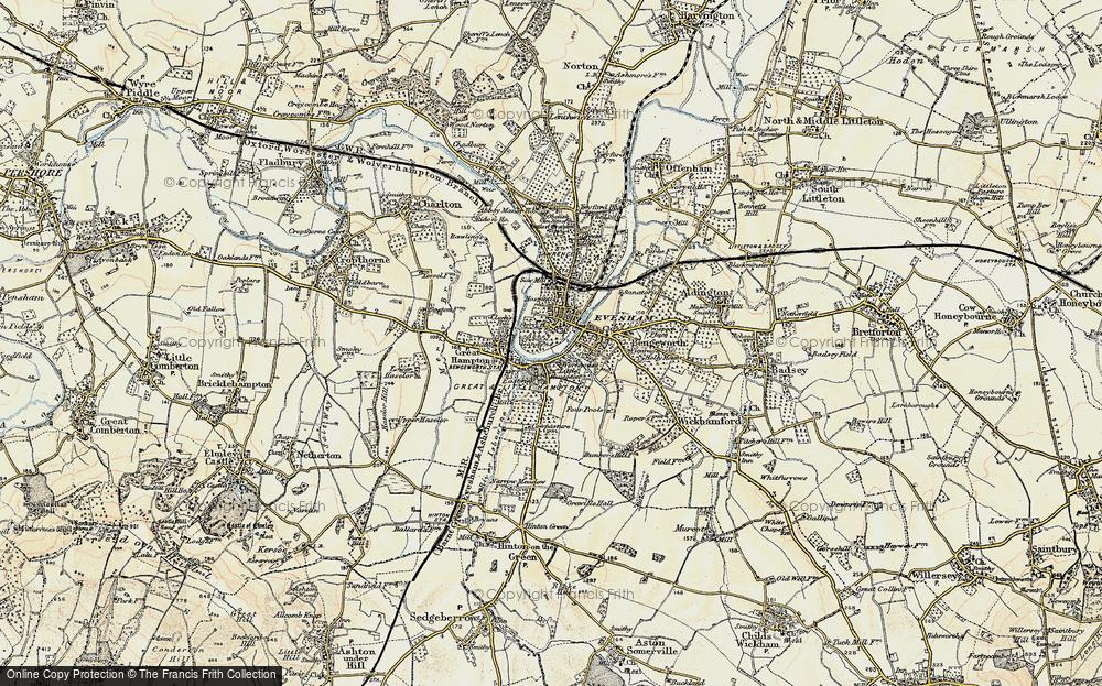 Map Of Evesham Map of Evesham, 1899 1901   Francis Frith Map Of Evesham