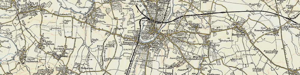 Old map of Evesham in 1899-1901