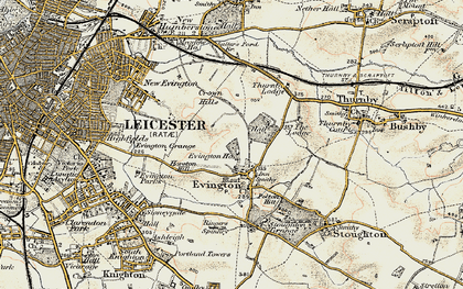 Old map of Evington in 1901-1903