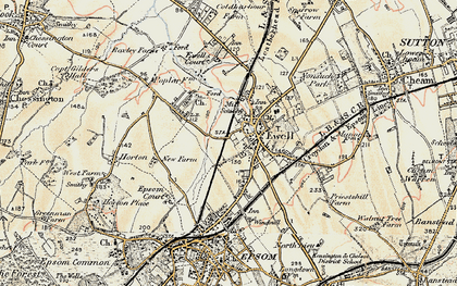 Old map of Ewell in 1897-1909