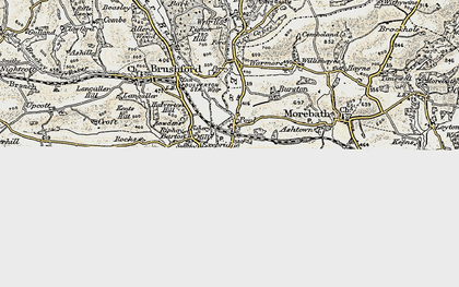 Old map of Exebridge in 1898-1900