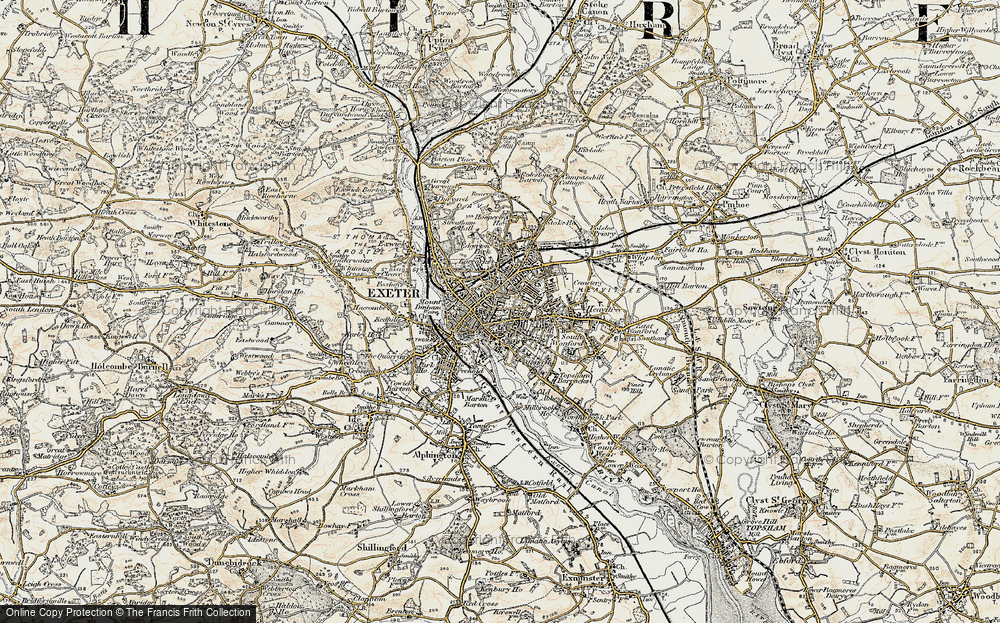 Old Map of Exeter, 1899 in 1899