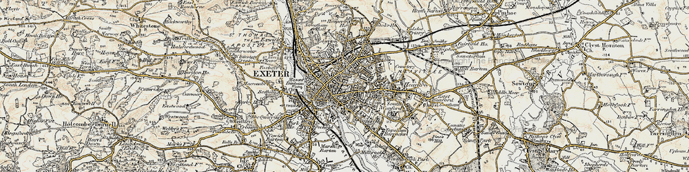Old map of Exeter in 1899