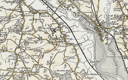 Old map of Exminster in 1899
