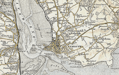 Old map of Exmouth in 1899