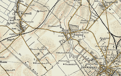 Old map of Exning in 1899-1901