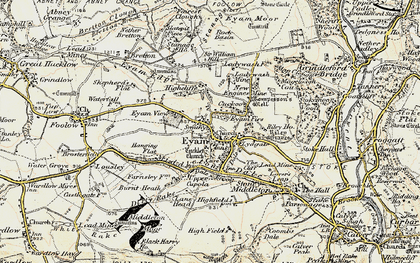 Old map of Eyam in 1902-1903