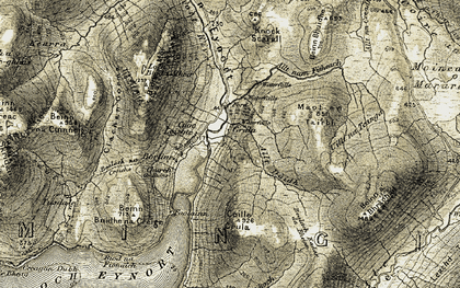 Old map of Bealach na Croiche in 1908-1909