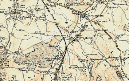 Old map of Eynsford in 1897-1898