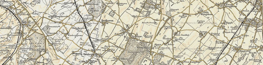 Old map of Eythorne in 1898-1899