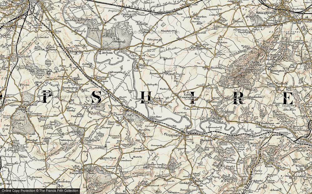 Old Map of Historic Map covering Shropshire in 1902
