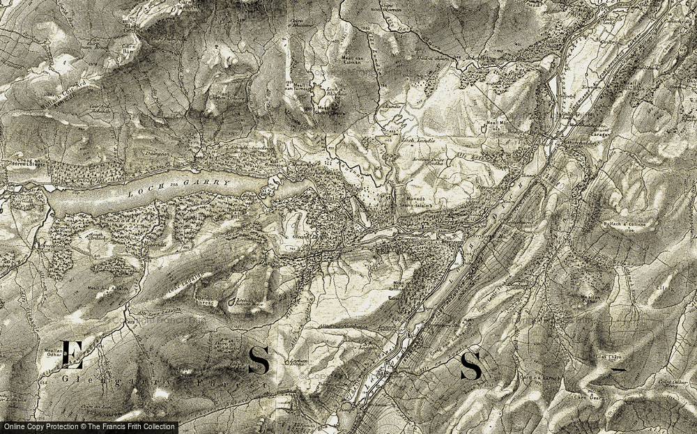 Old Map of Historic Map covering Allt Bolinn in 1908