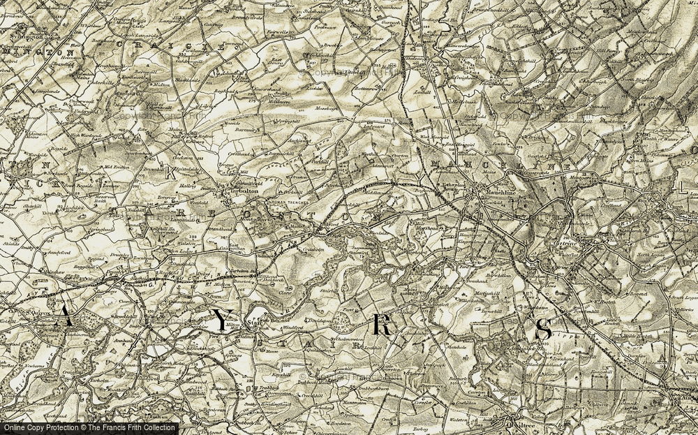 Old Map of Historic Map covering Adamcroft in 1905-1906
