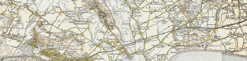 Old map of Winkton Common in 1897-1909