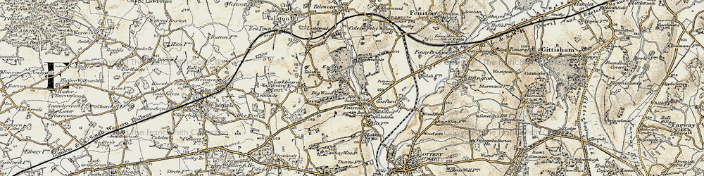 Old map of Fairmile in 1898-1900