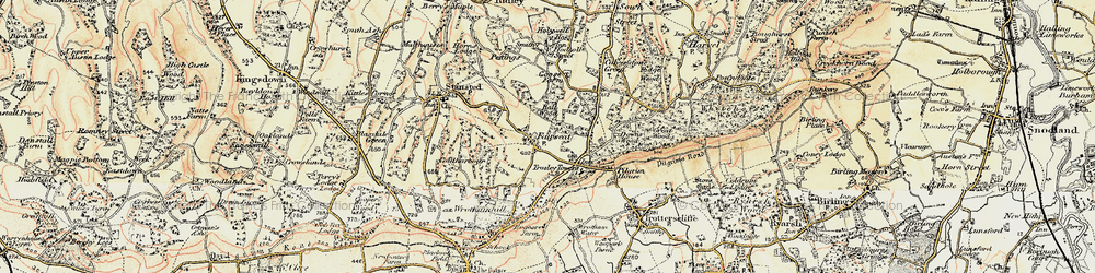 Old map of Wrotham Hill Park in 1897-1898