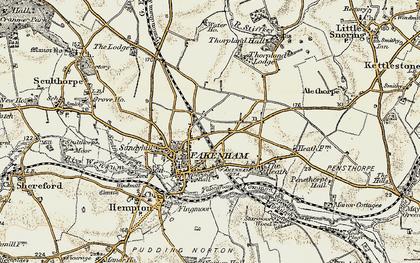 Old map of Fakenham in 1901-1902