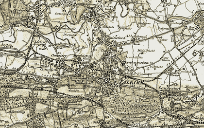 Old map of Falkirk in 1904-1907