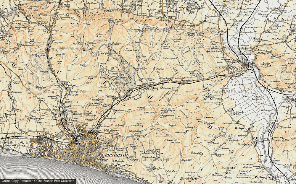 Old Map of Historic Map covering Balmer Down in 1898