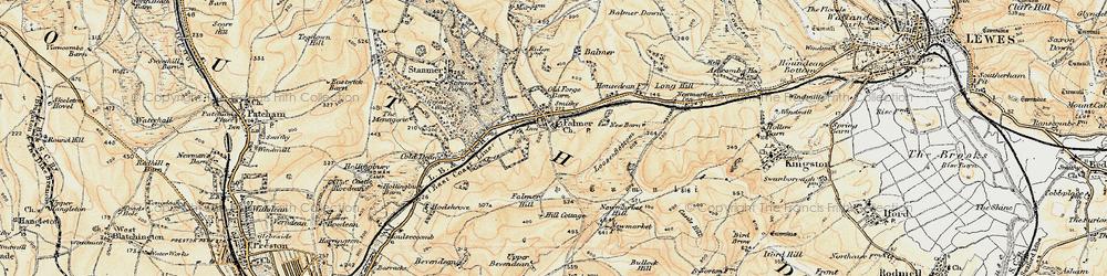 Old map of Falmer in 1898