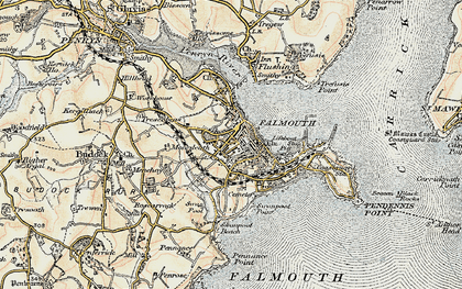 Old map of Falmouth in 1900