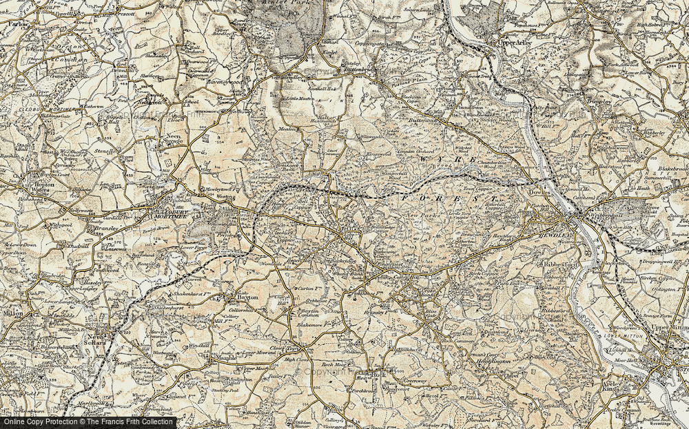 Old Map of Historic Map covering Lem Brook in 1901-1902