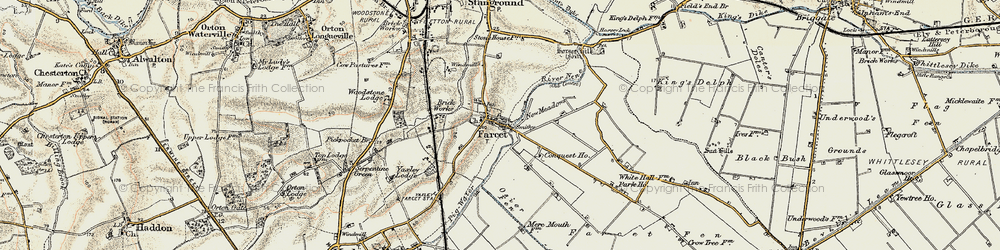 Old map of Farcet in 1901-1902