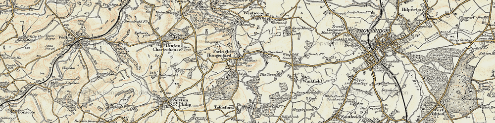 Old map of Farleigh Hungerford in 1898-1899