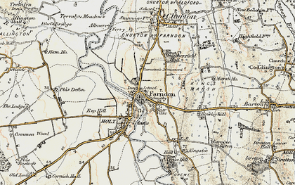 Old map of Farndon in 1902-1903