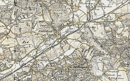 Old map of Farnham in 1898-1909