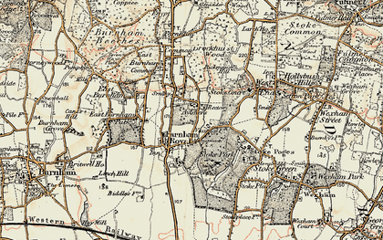 Old map of Farnham Royal in 1897-1909