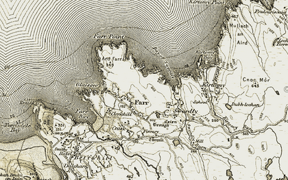 Old map of Farr in 1910-1912