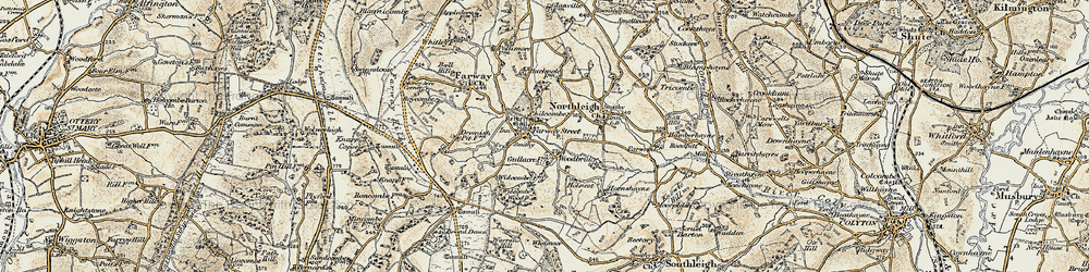 Old map of Widcombe Wood in 1898-1900