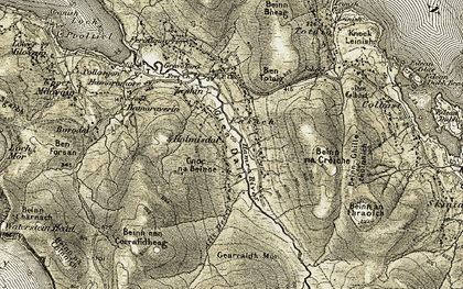 Old map of Allt Dearg in 1909-1911