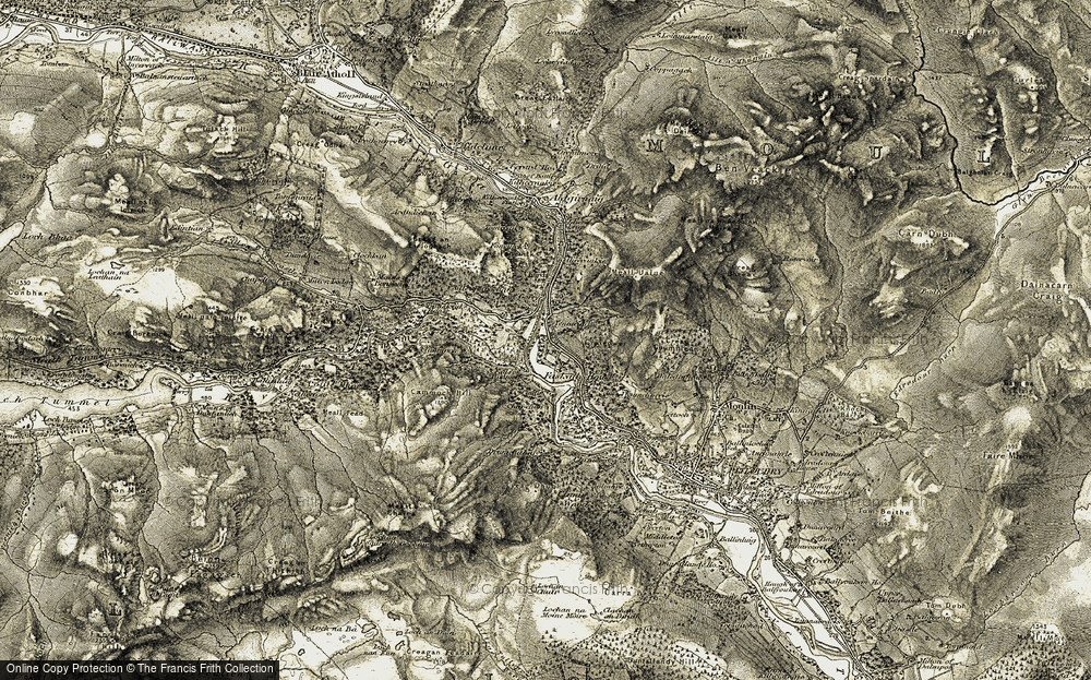 Old Map of Historic Map covering Linn of Tummel in 1907-1908