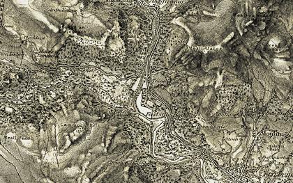 Old map of Linn of Tummel in 1907-1908