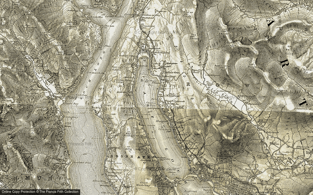 Old Map of Historic Map covering Auchengaich in 1905-1907