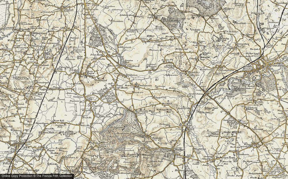 Old Map of Historic Map covering Ashford Grange in 1902