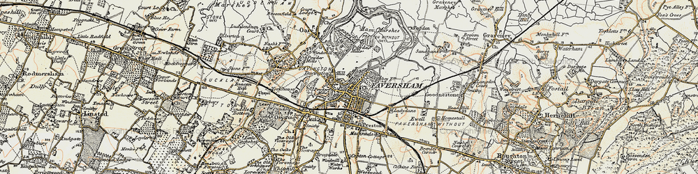 Old map of Faversham in 1897-1898