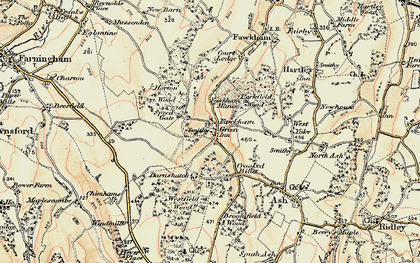 Old map of Fawkham Green in 1897-1898
