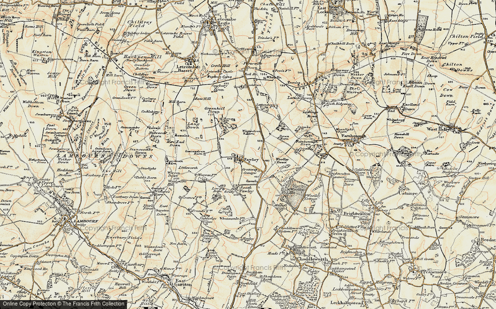 Old Map of Historic Map covering Lattin Down in 1897-1900