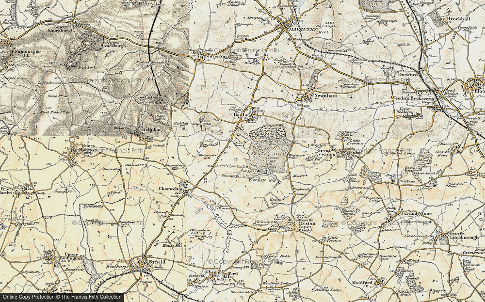 Old Map of Historic Map covering Badby Down in 1898-1901